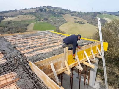 Working on Concrete Form - part of  building new house in Le Marche