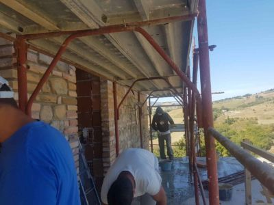 Working on the North Wall of a new house being built in Le Marche
