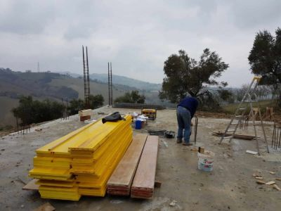 Column Form Material Ready at new house construction site in Le Marche
