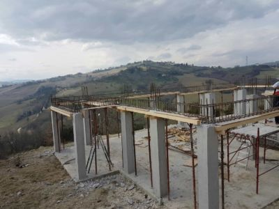 Forming the Perimeter of the First Floor at a new house construction site in Le Marche