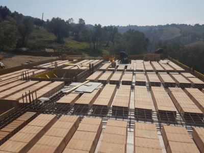 Top Floor Base Ready To Pour at a new house structural build in Le Marche