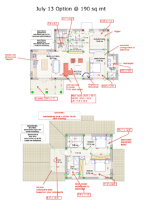 Floor plans for a country house in Italy