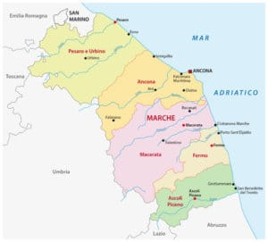 marche provinces map