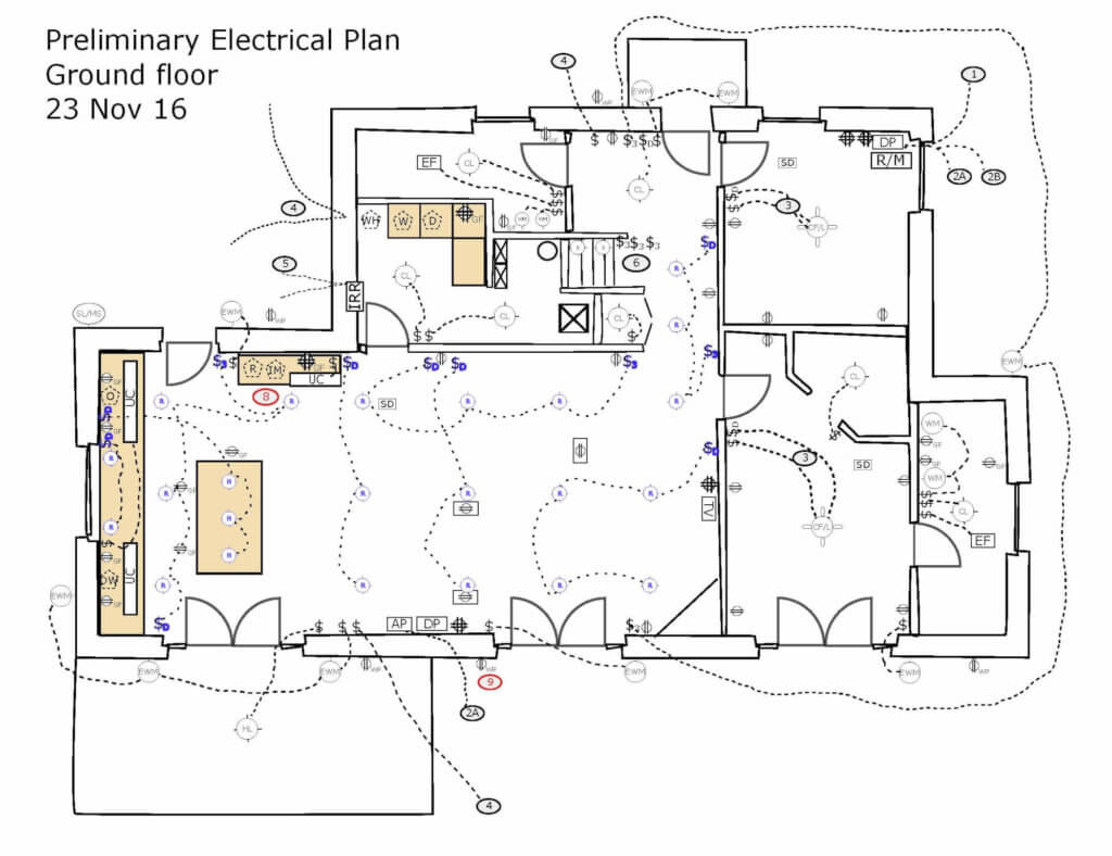 electrical plan for a new house in Le Marche