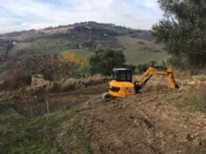 Photos of the excavation of the foundation site of new construction in Le Marche