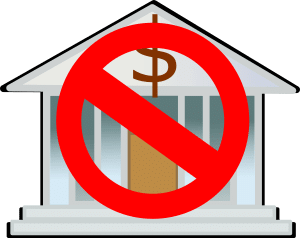 symbol showing bank with a prohibited cross