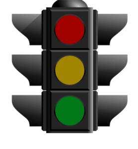 stoplight indicating lack of approval on permesso di costruire