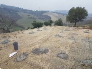 Completed reinforced steel pilings for house in Le Marche