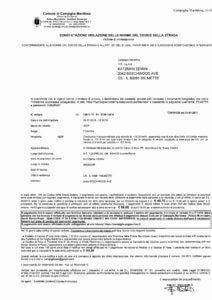 Speed camera violation notice in Italy