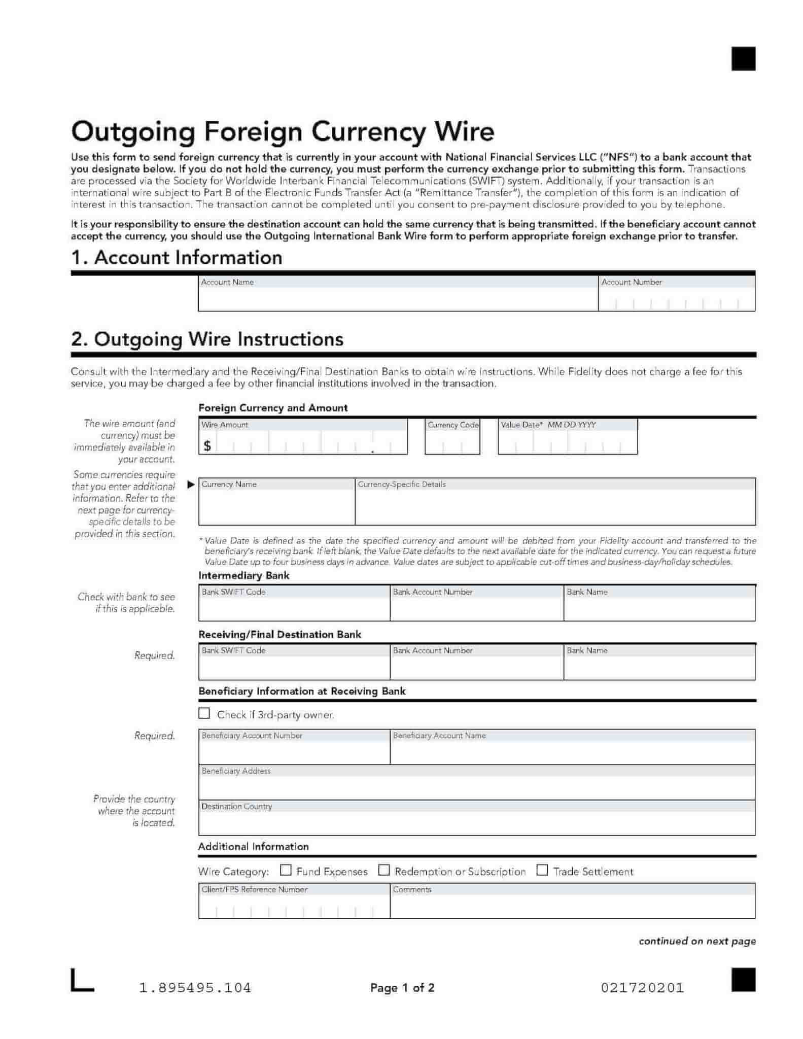 Outgoing currency wire form