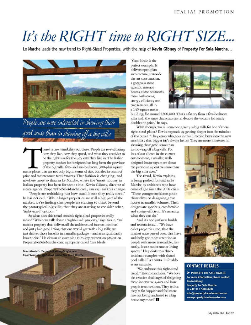 magazine article about a small Italian house