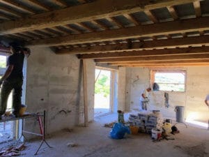Working on Plaster in Main Room