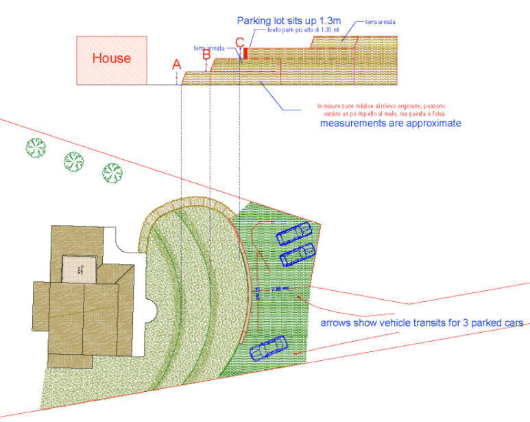 Drawing of parking area and retaining wall