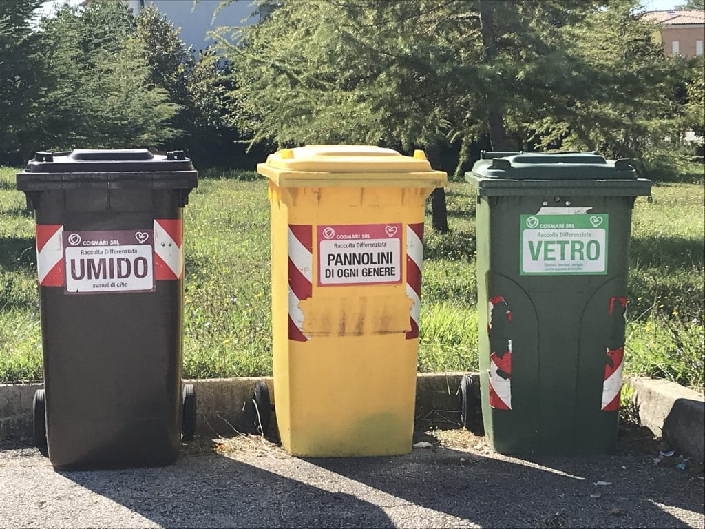 recycling bins in Italy